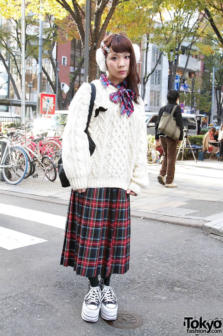 Pleated Tartan Skirt from Flower