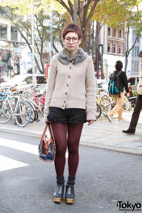 Short-haired Japanese Girl Named Bob w/ Cute Glasses & Frilly Shorts