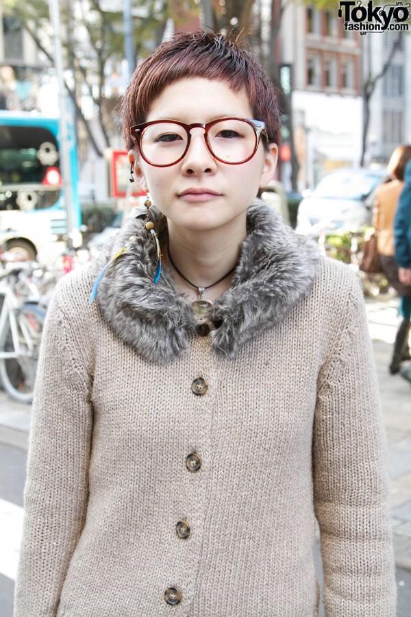 Japanese Girl in Large Glasses & Knit Zara Top