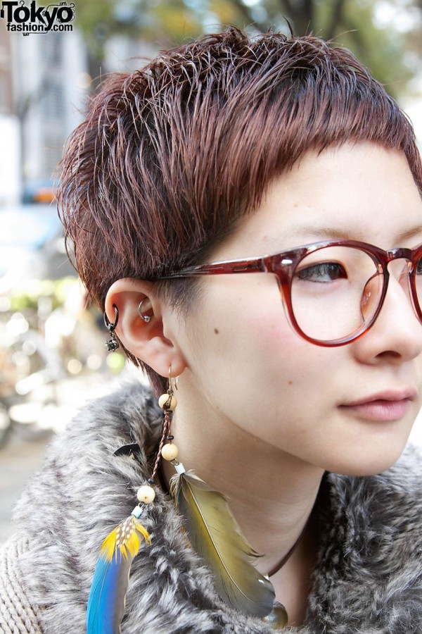 Short Hair, Glasses and Earrings