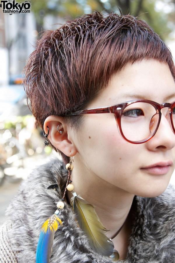 Short Hair Glasses And Earrings Tokyo Fashion News