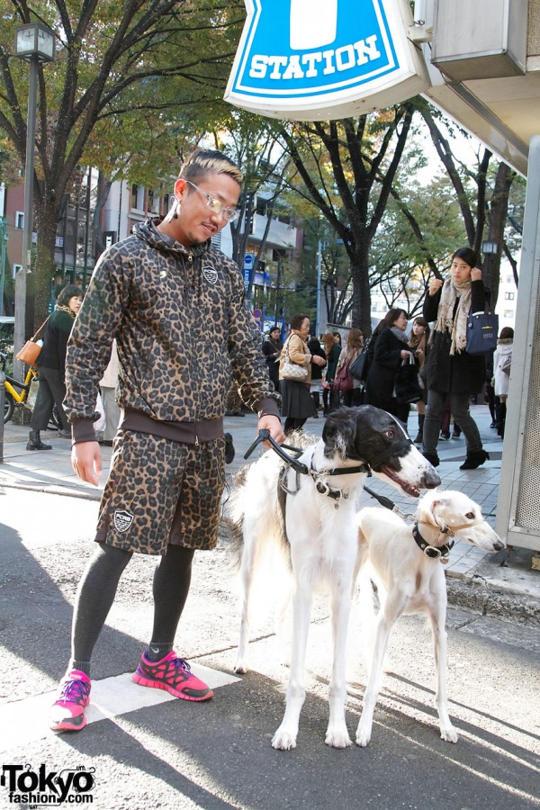 Stylish Harajuku Runner With Two Russian Wolfhounds