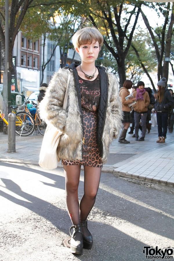 Topshop Leopard Print Skirt & Furry Jacket in Harajuku