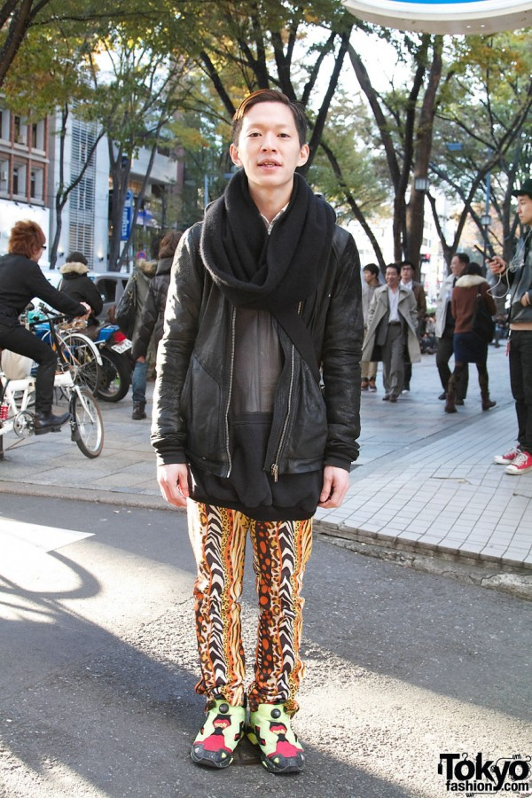 Harajuku Guy in Rick Owens Leather & Jeremy Scott x Adidas Leopard Pants