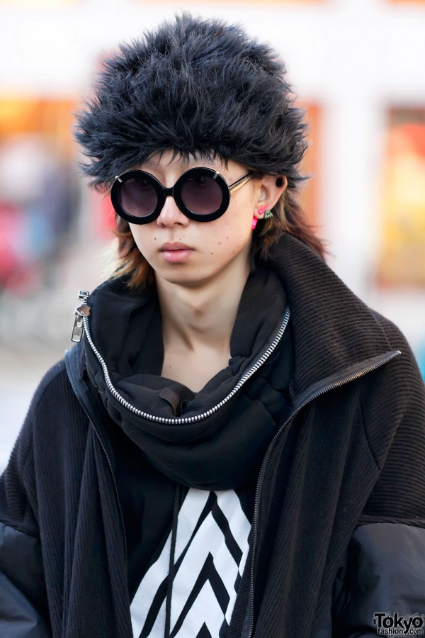 Black Furry Hat on Harajuku Guy
