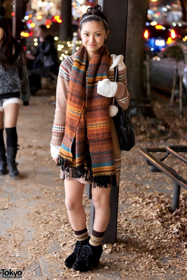 Harajuku Girl in Knit Sweater Dress