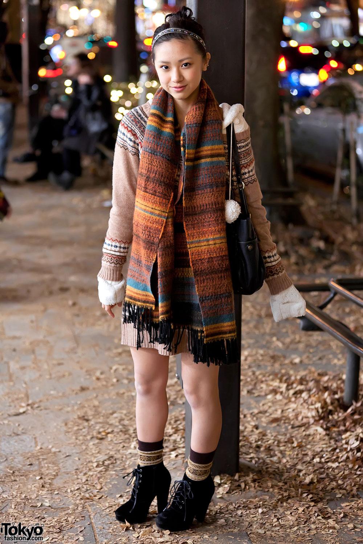 Knit Sweater Dress Colorful Knit Scarf Jeweled Headband In Harajuku