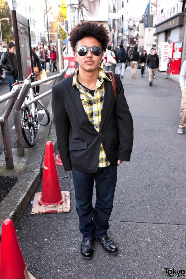 Japanese Guy With Curly Hairstyle & Addictive Bag in Harajuku