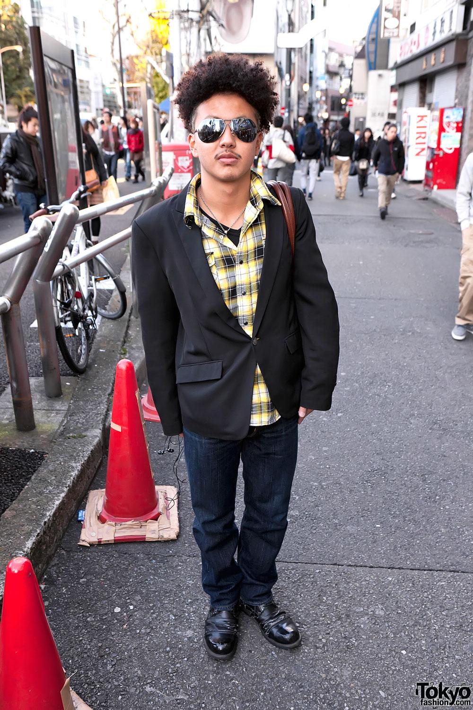 Japanese Guy in Blazer & Boots in Harajuku