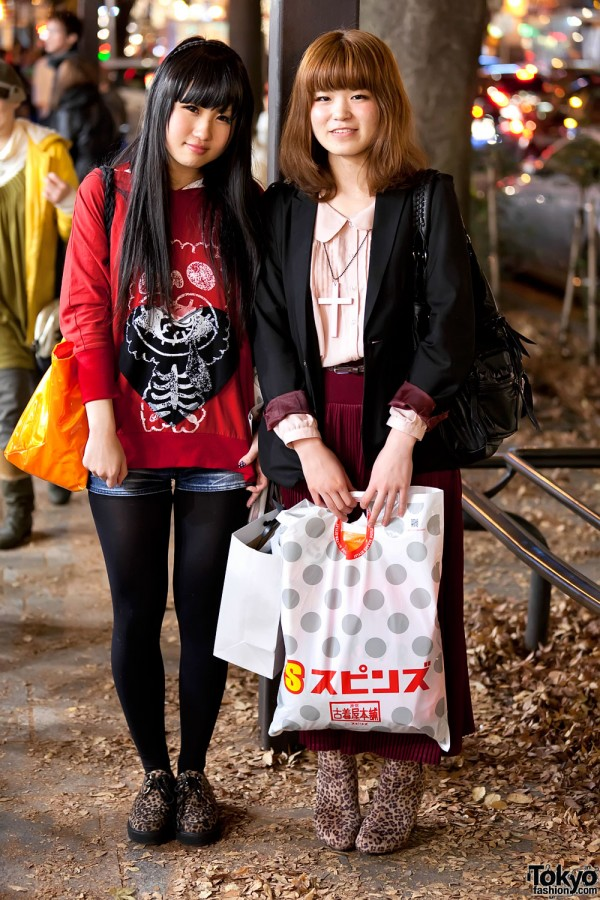 Harajuku Girls in Leopard Print Shoes, Pink Cross Necklace & Pleated Skirt