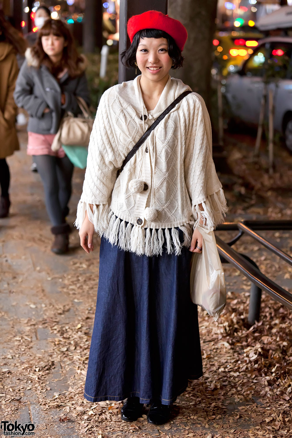 Cable Knit Sweater & Long Denim Skirt