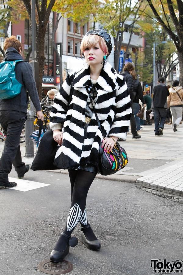 Harajuku Girl's Striped Trapeze Coat, Vive Vagina Tights & Dolce Vita Handbag