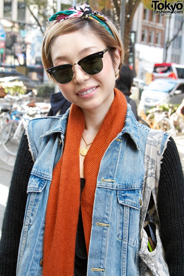 Girl w/ Ray-Ban sunglasses & denim vest in Harajuku