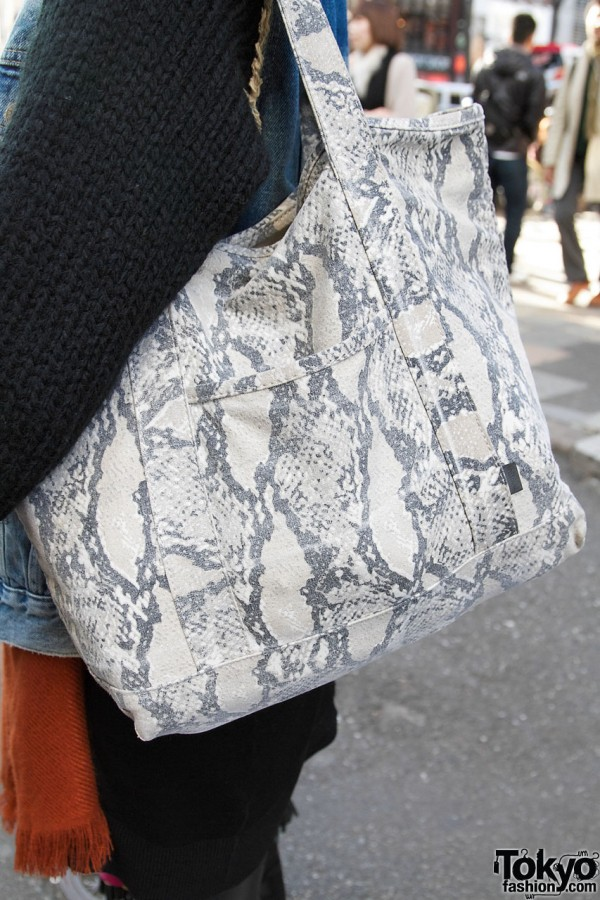 Reptile-print bag in Harajuku
