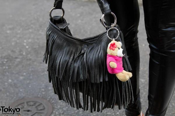 Moussy fringed purse w/ toy in Harajuku