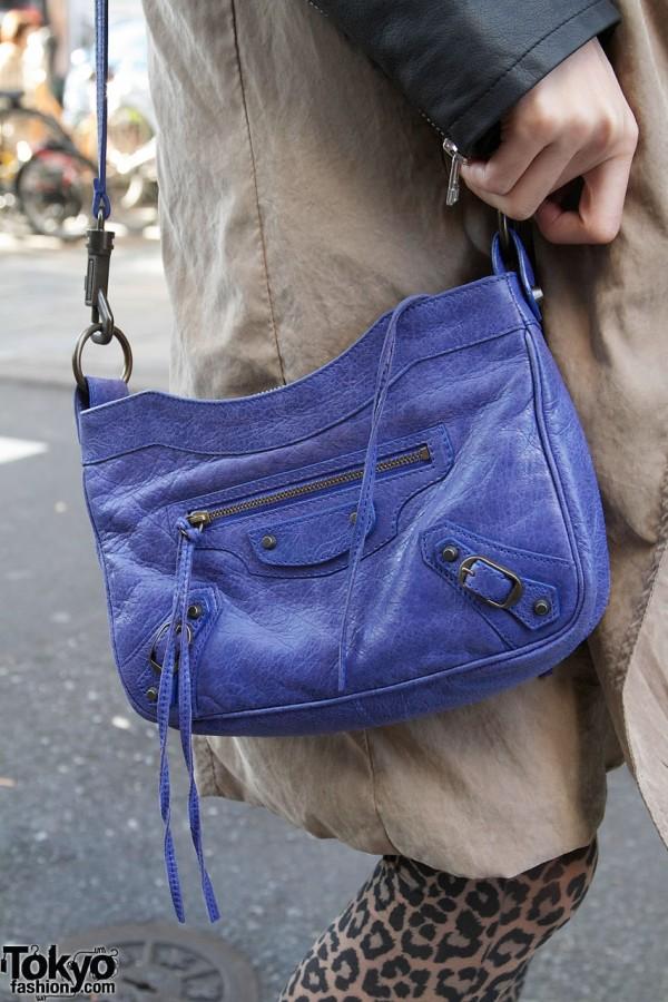 Blue Balenciaga purse in Harajuku