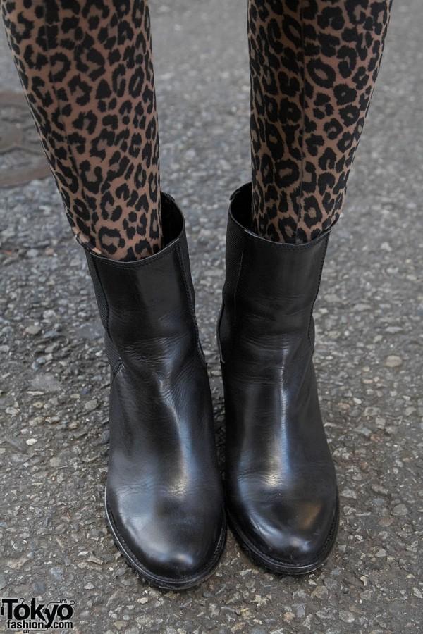 Animal print leggings & Jeffrey Campbell boots in Harajuku
