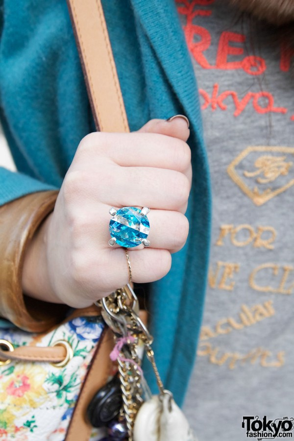 Blue rhinestone ring & wooden bangle in Harajuku