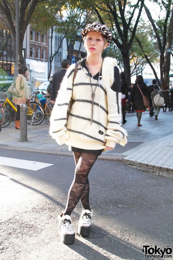 Zebra Cap, Remade Sweater & Candy Platform Shoes