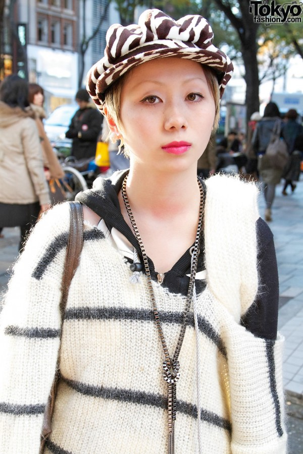 Remade mohair striped sweater & chain necklace