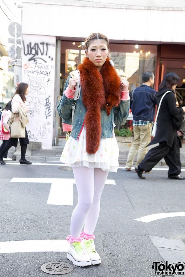 Girl's Fox Fur Stole, BCB / ADD Jacket, American Apparel Skirt & Alice Black Ring