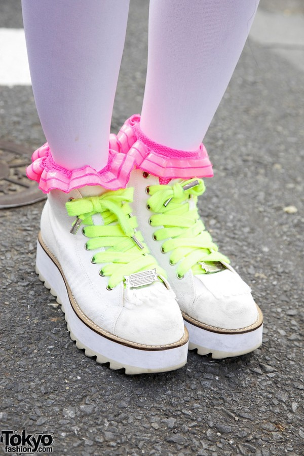 Platform sneakers w/ lime green laces from Banal Chic Bizarre