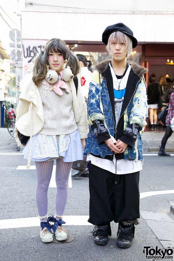 Harajuku couple in Kenzo sweater & patchwork parka