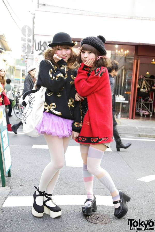 Riii & Maho in Cute Sweaters in Harajuku