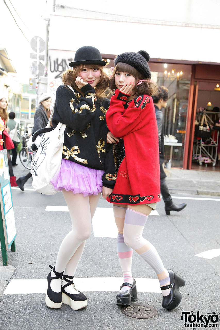 Riii & Maho in Cute Sweaters in Harajuku