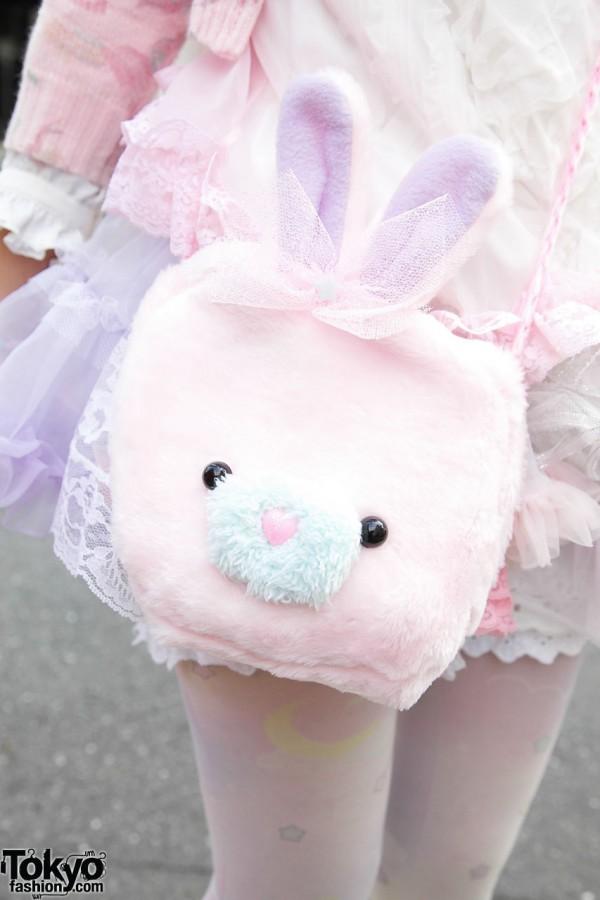 Plush bunny bag in Harajuku