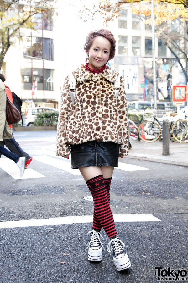 Candy Stripper Leopard Jacket with H&M Leather Skirt