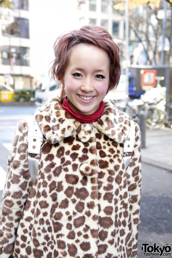 Cute girl in leopard jacket from Candy Stripper