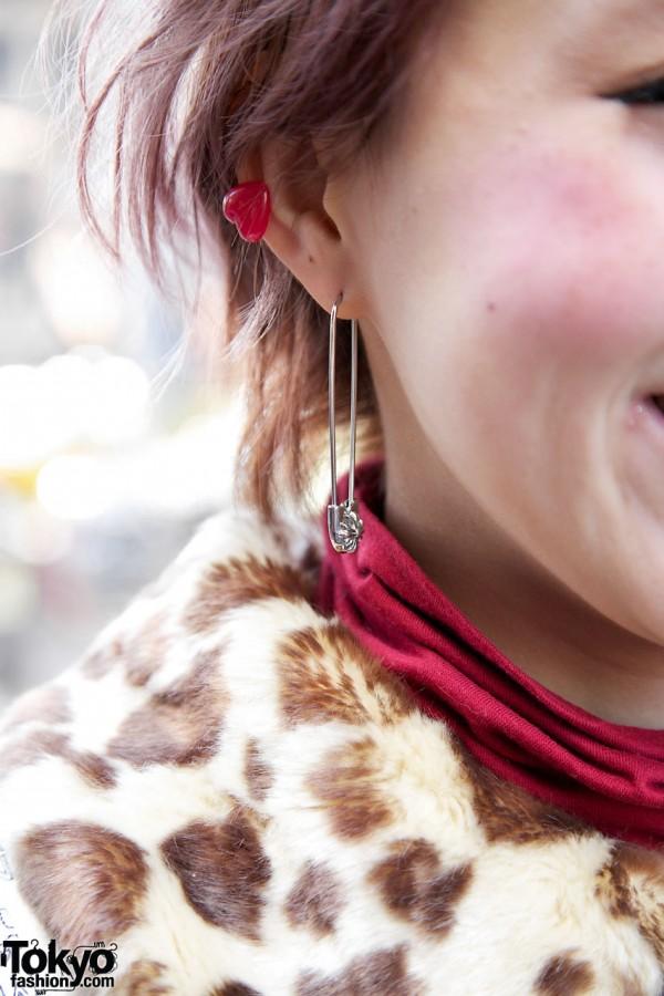 Safety pin earring in Harajuku