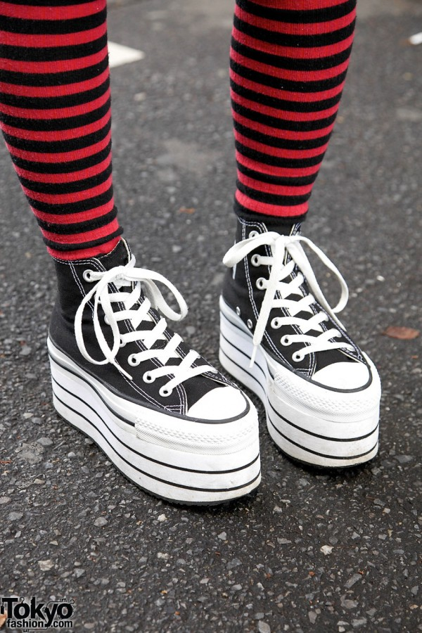 Striped socks & Nadia platform sneakers in Harajuku