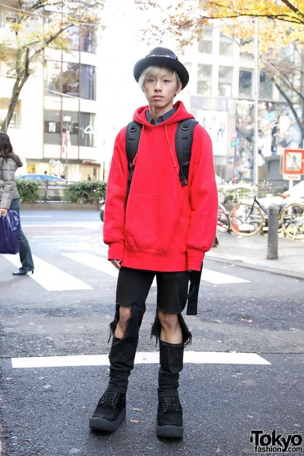 Harajuku Guy's Red Sweatshirt, Ripped Pants & Tokyo Bopper Shoes