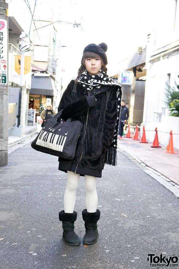 Minori's Milk Boy Hoodie, Jane Marple Beret, Piano Purse & Teddy Bear Backpack