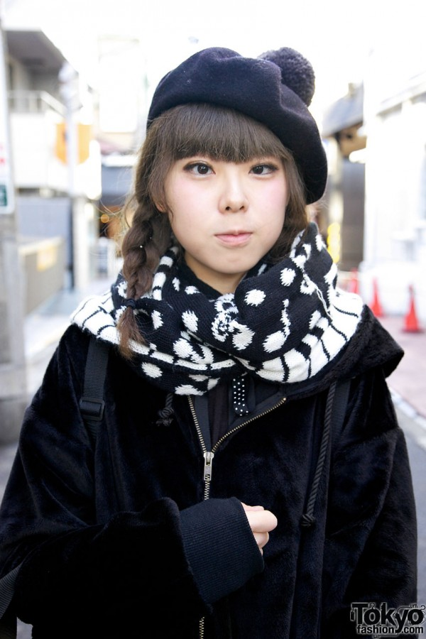 Girl with braids & knit scarf in Harajuku