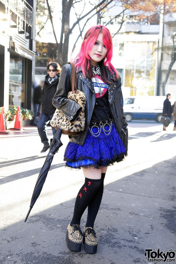 Pink Hair, Sexy Dynamite London Top, Plush Purse & Platform Creepers in Harajuku