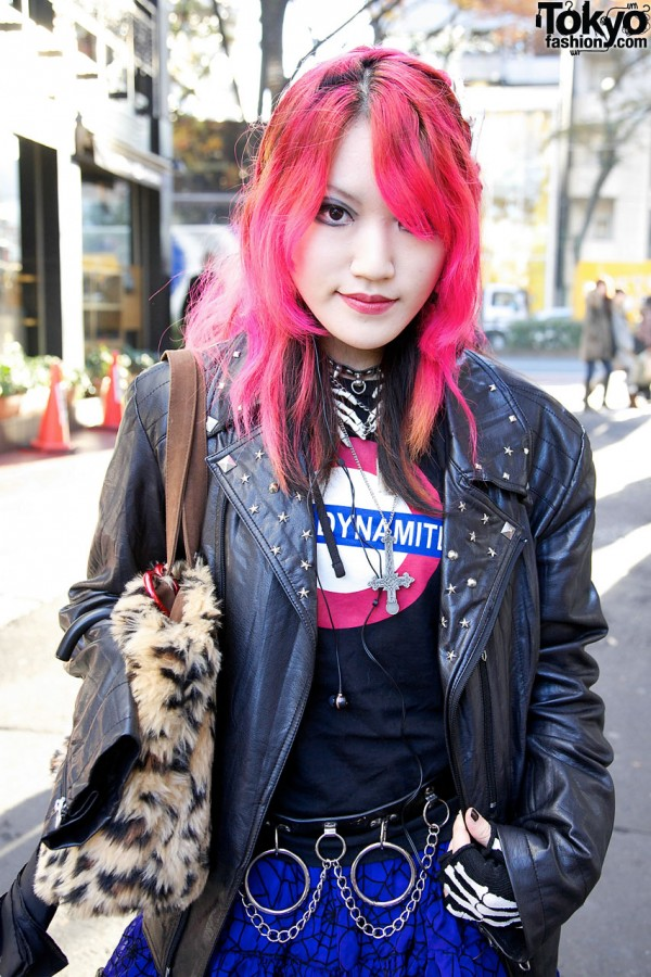 Sexy Dynamite London shirt & leather jacket in Harajuku
