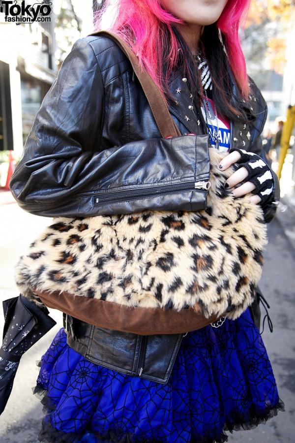 Plush animal-print purse in Harajuku