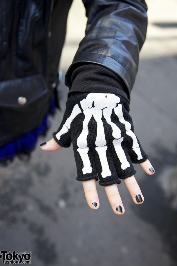 Skeleton fingerless gloves in Harajuku