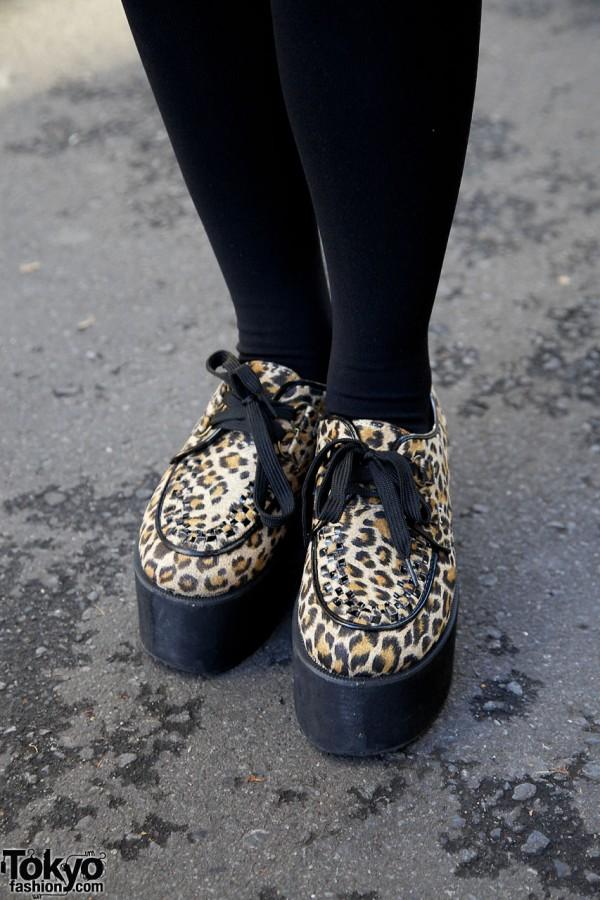 Animal print platform shoes in Harajuku