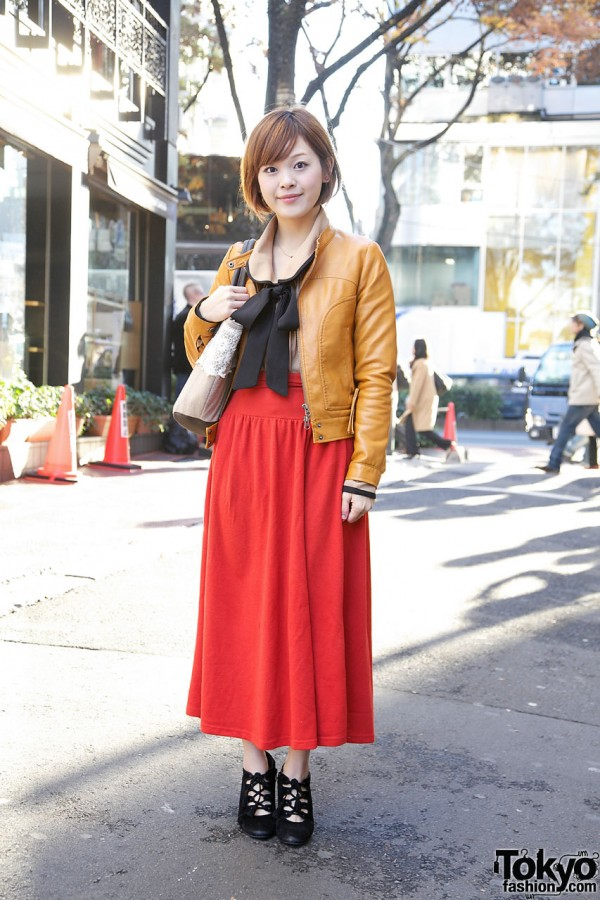 Resale Maxi Skirt, Short Leather Jacket & Bow Blouse