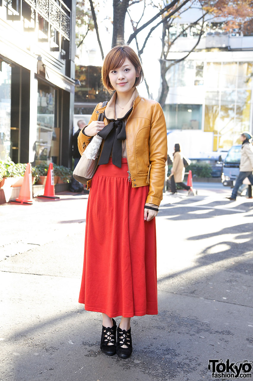 Girl's Resale Maxi Skirt, Short Leather Jacket & Bow Blouse