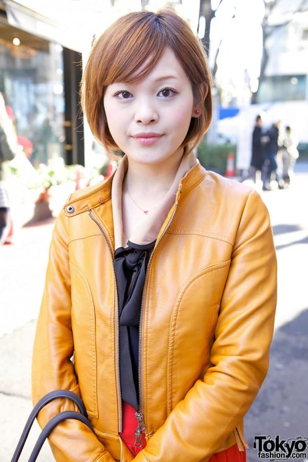 Leather jacket & blouse w/ bow in Harajuku