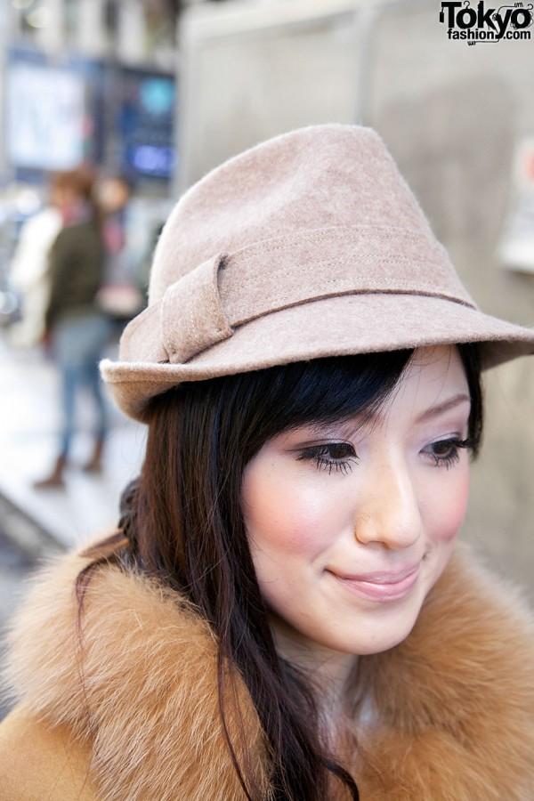 Japanese girl in fedora hat in Harajuku