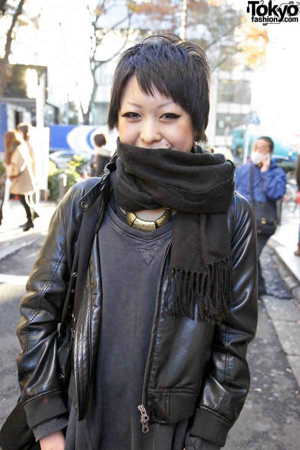 Leather jacket & fringed scarf in Harajuku