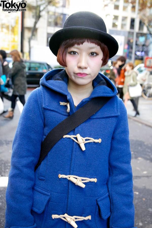 Derby hat & toggle coat in Harajuku