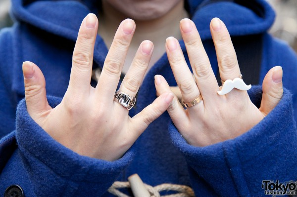 Mustache ring & Vivienne Westwood ring in Harajuku