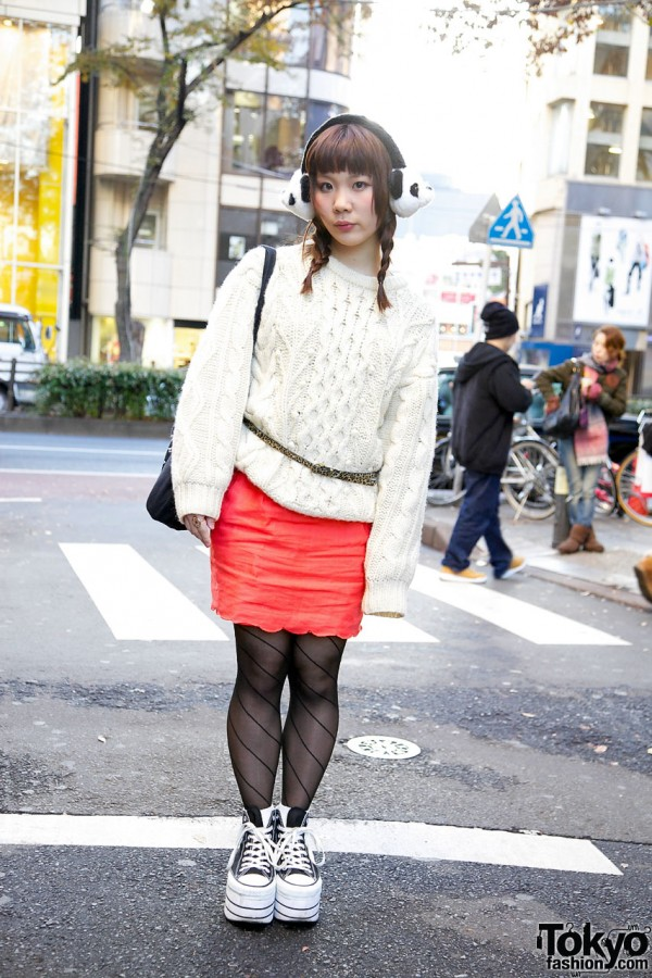 Kinji Cable Sweater & Forever 21 Skirt in Harajuku